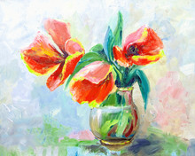 Oil Painting, Impressionism Style, Texture Painting, Flower Still Life Painting Art Painted Color Image,   Tulips