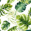 canvas print picture Seamless watercolor pattern of tropical leaves, dense jungle. Hand painted. Texture with tropic summertime  may be used as background, wrapping paper, textile or wallpaper design.