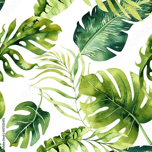 Plissee mit Motiv - Seamless watercolor pattern of tropical leaves, dense jungle. Hand painted. Texture with tropic summertime  may be used as background, wrapping paper, textile or wallpaper design. (von kris_art)