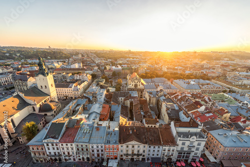Foto op Canvas Europa Lviv Cityscape and Sunset Light. Lviv Old Town.