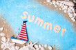 Vacation and travel season. Summer holiday background. Sea card with ship, sand, shells and starfish on blue background top view. Copy space