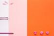 Leinwanddruck Bild - School or Office Accessories on Pink and Orange Background