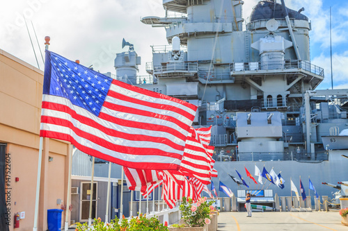 Photo  American flags at Missouri Battleship Memorial in Pearl Harbor Honolulu Hawaii, Oahu island of United States