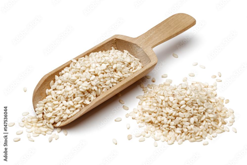 Fototapety, obrazy: Sesame in wooden scoop
