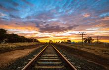 Railway Tracks At Sunset  Scen...