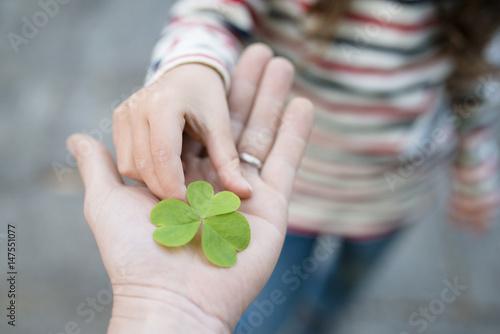 Fotografia  クローバーの葉を手渡す親子