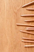 Wooden Pencils On Wooden Background