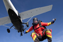 Woman Freefly Skydiving From Airplane