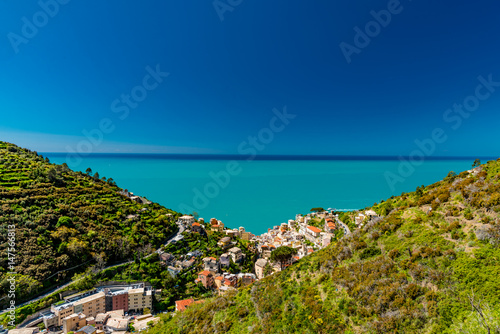 Panorama of the five lands in liguria italy