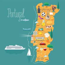 Map Of Portugal Vector Illustration, Design