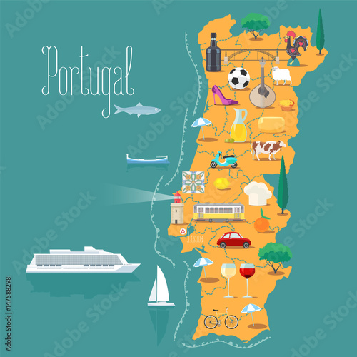 Map of Portugal vector illustration, design Wallpaper Mural