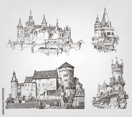 Obraz Vector old castle illustrations set. Countrysides on gothic fortress background. Hand drawn architectural landscapes. Sketches of ancient towers. - fototapety do salonu