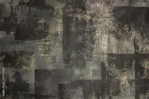 Zdjęcie czerni, szarości, złamanej bieli (krem) i zielonego abstrakcyjnego malarstwa. Ręcznie malowane teksturowane i nieczysty tło. Minimalistyczne zdjęcie.