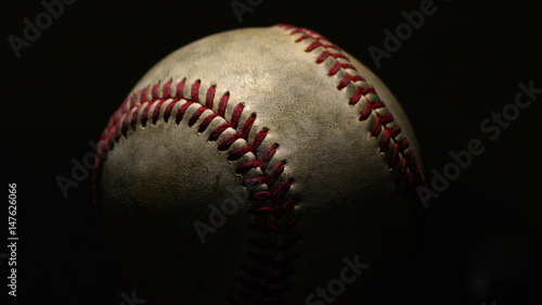 Baseball On Black Canvas Print