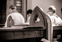 Gothic Church Pews With Priest...
