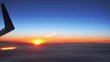 Beautiful video footage of a airplane wing against the sunset, Boeing 737, HD 1080p