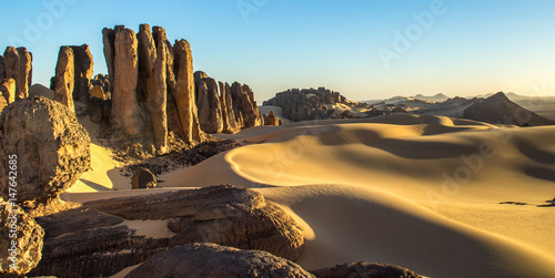 Sunset in the Rocky Algerian Desert -Tassili of Hoggar Wallpaper Mural