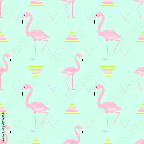 Canvas Prints Flamingo Bird Seamless pattern pink flamingo vector