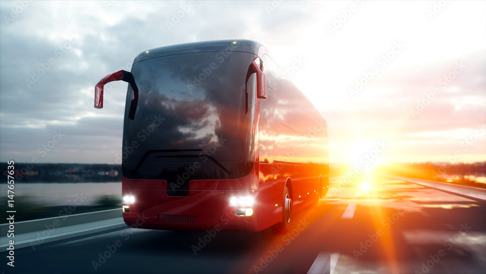 tourist red bus on the road, highway Canvas Print