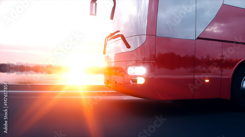 Fotografie, Obraz  tourist red bus on the road, highway