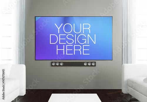 Big Screen TV In Living Room Mockup