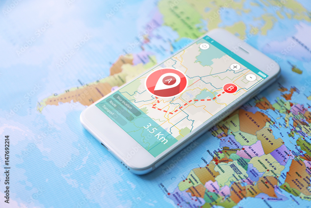 Fototapeta Modern technology and tourism concept. Map application for smartphone