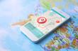 Leinwandbild Motiv Modern technology and tourism concept. Map application for smartphone