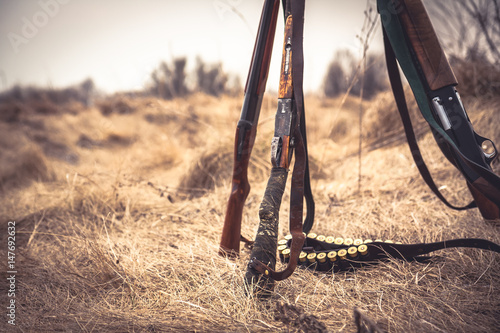 Fotobehang Jacht Hunting scene with hunting shotguns and ammunition belt on dry grass in rural field during hunting season as hunting background