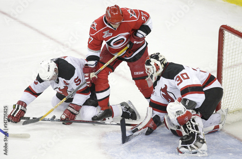 best sneakers f0df7 ea9e2 New Jersey Devils' goaltender Martin Brodeur and team mate ...