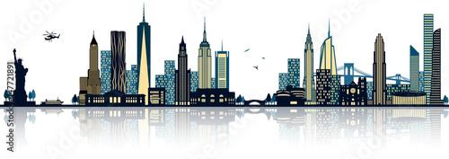 NY New York Manhatten Skyline mit Freiheitsstatue und Skyscraper Canvas Print