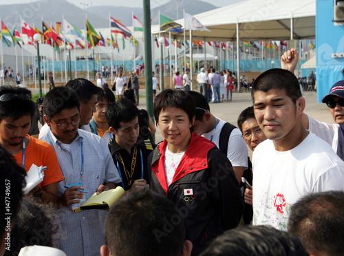 Japan's judo world champion, Kosei Inoue, and women's wrestling
