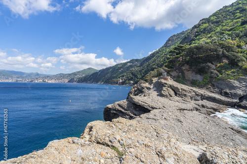 Rocks of Punta Chiappa at the top of Tigullio promontory near Camogli, Liguria, Italy