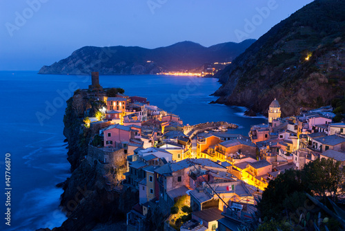 Fototapety, obrazy: Cinque Terre Vernazza famous view at sunset or sunrise with city light in Italy