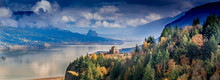 Vista House On The Oregon Side Of The Columbia Gorge In Early Fall