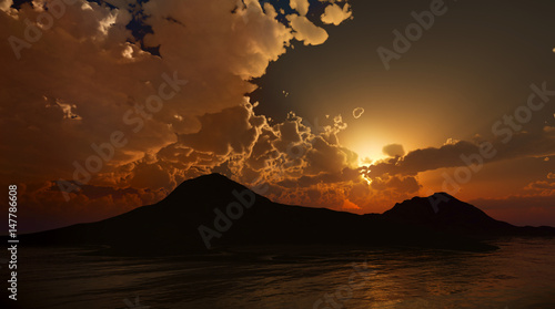 Fotografía  Peaceful Sunset or dawn. Photo real 3D rendering