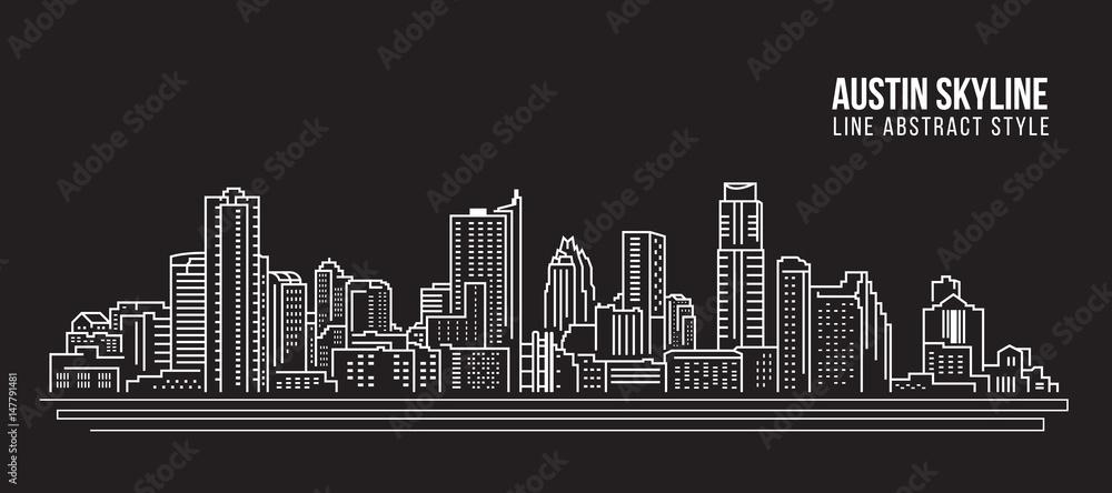 Cityscape Building Line art Projekt ilustracji wektorowych - Austin skyline city <span>plik: #147791481 | autor: ananaline</span>