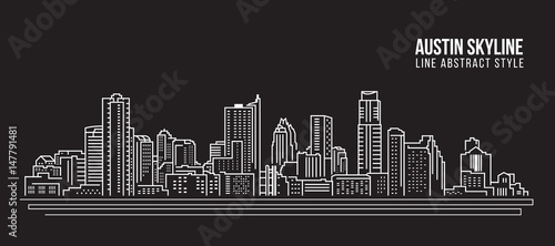 Cityscape Building Line art Vector Illustration design -  Austin skyline city Canvas Print