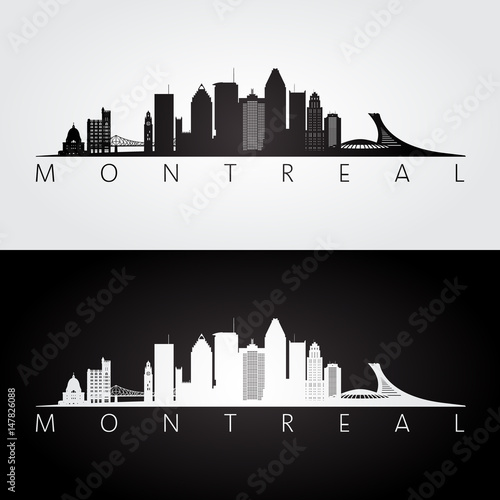 Montreal skyline and landmarks silhouette, black and white design.
