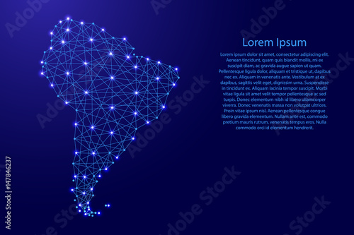 Map of South America from polygonal blue lines and glowing stars vector illustration
