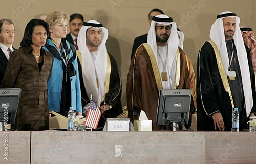 US Secretary of State Rice and UAE delegations listen to Jordanian