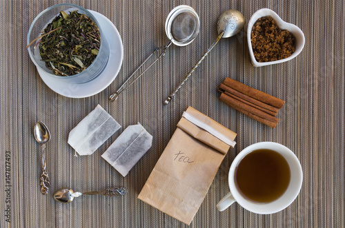 Teatime flat lay Fototapeta
