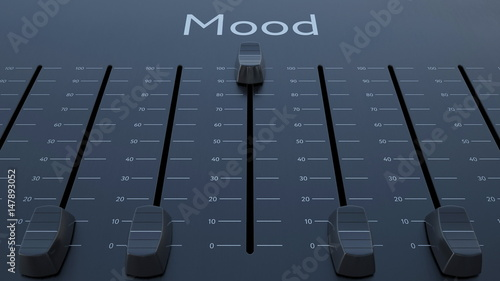 Sliding fader with mood inscription. Conceptual 3D rendering Fototapeta