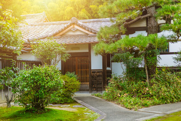 Fototapeta Japan Home garden zen style traditional Asian architecture.