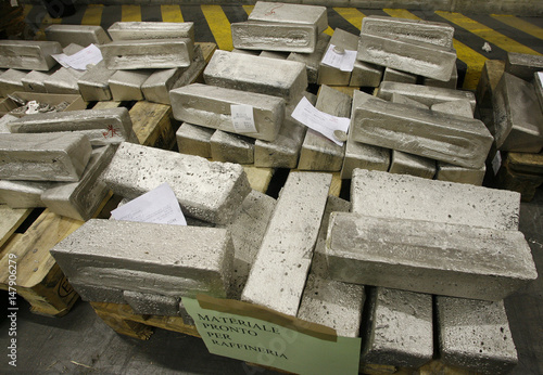 Gold and silver-bearing so-called Dore bars are stored for