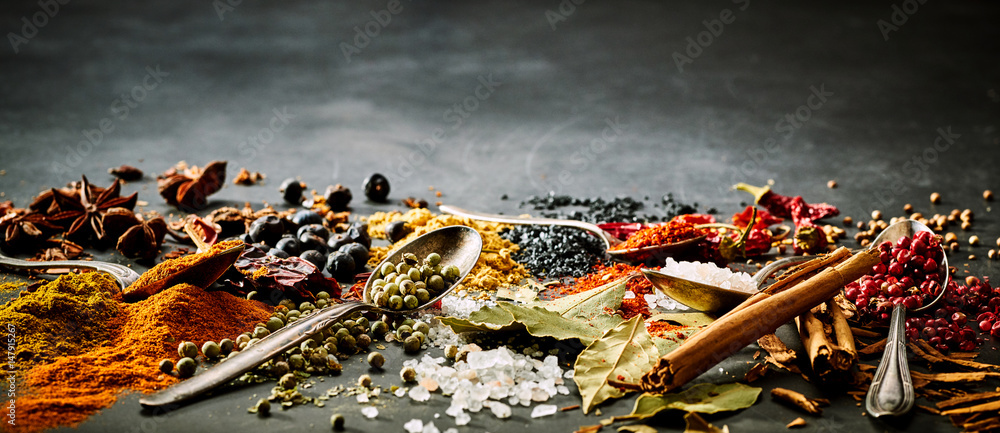 Fototapety, obrazy: Panoramic banner of assorted spices