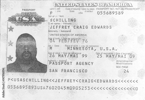 PHOTOCOPY OF THE PASSPORT OF AN AMERICAN NATIONAL WHICH THE