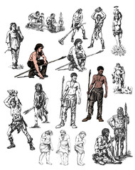 Great set. Sketches of primitive and ancient people