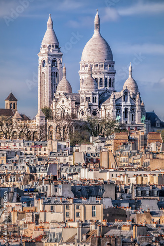 Famous Sacre Coeur Cathedral during spring time in Paris, France Wallpaper Mural