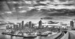 Black and white view of Downtown Miami. Panoramic shot from Port Boulevard