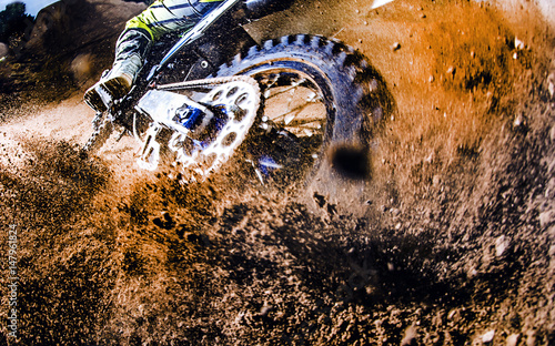 Valokuva Close-up of motocross wheel.